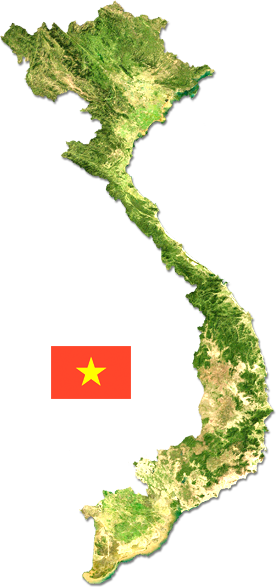 Map and flag of Vietnam