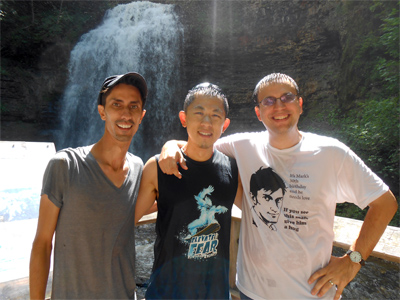 Mark, Renaldo and Marlowe soaked from their foray behind the falls